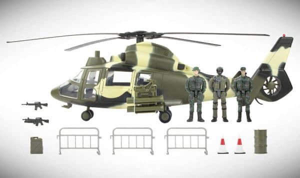 World Peacekeepers Aerial Rocket Army Military Helicopter (ARH) Toy & 3 Figures